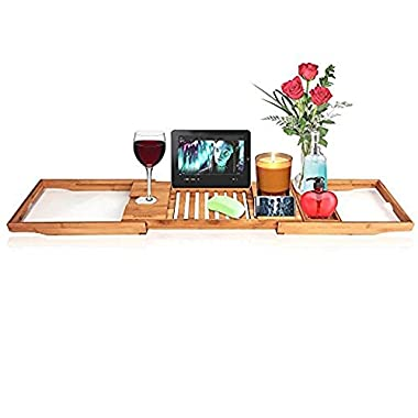 SereneLife Luxury Bamboo Bathtub Caddy Tray - Adjustable Natural Wood Bath Tub Organizer with Wine Holder, Cup Placement, Soap Dish, Book Space & Phone Slot for Spa, Bathroom & Shower SLBCAD20