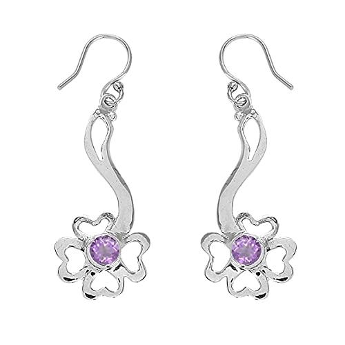 Shine Jewel Multi Choice 0.10 Ctw Pendiente floral de plata esterlina con piedras preciosas de forma redonda 925 (Rosa amatista)