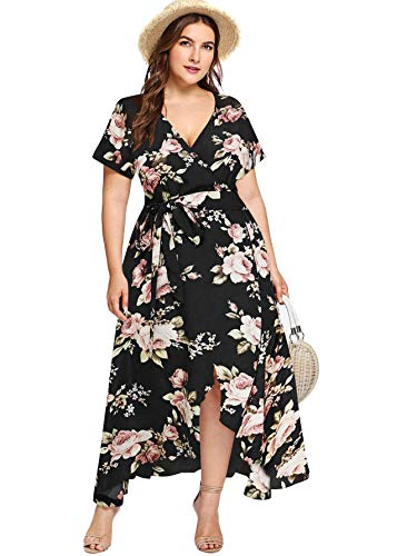 Milumia Plus Size Women Empire Waist Asymmetrical High Low Bohemian Maxi Dress Black 4X-Large Plus