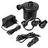 OcioDual Bomba de Aire Eléctrica Inflador Eléctrico Mini Compresor 3 Boquillas Enchufe 2 Pin EU+Coche Negro para Inflar Colchón