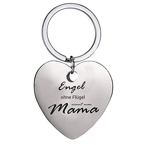 Schlüsselanhänger Herz mit Gravur für Muttertagsgeschenk - Anhänger Engel ohne Flügel, nennt Man Mama Silber Schlüsselanhänger - als Geburtstag Weihnachten Mütter