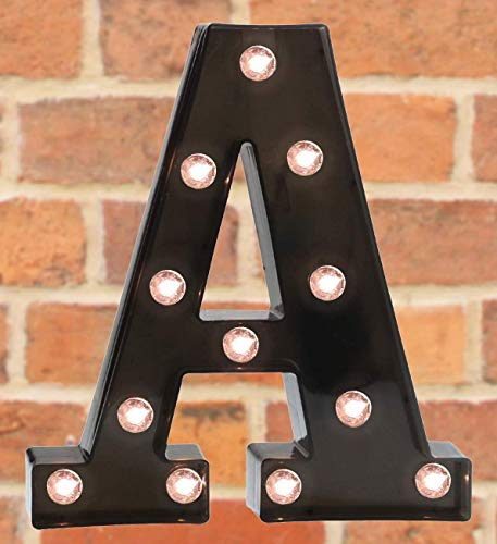 Light Up LED Letter Marquee Sign - Alphabet Marquee Letters with Lights for Wedding Birthday Party Christmas Night Light Lamp Home Bar Decoration A, Black