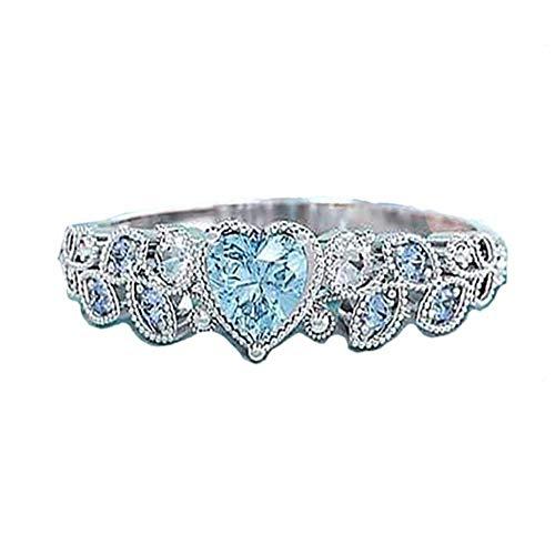 Anillos de princesa con forma de corazón de diamante de cristal azul con piedras preciosas de zafiro elegante Anillo de promesa de plata para mujer Joyería de compromiso de boda