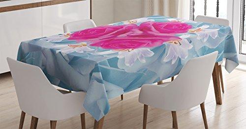 Rosa mantel por Ambesonne, gráfico de rosas y lirios con suave colores Pastel naturaleza flores primavera tema, comedor cocina funda para mesa rectangular, 60W x 84L), Fuscia color azul