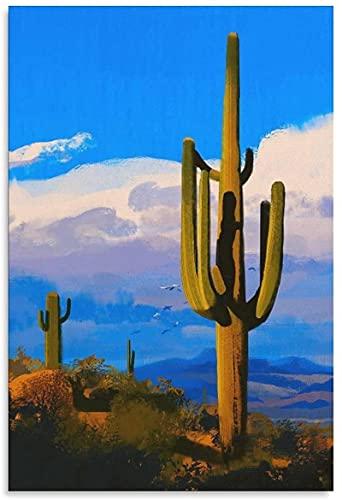 YWCMDH Posters para Pared Cactus Prairies Birds Art Cloud Canvas Art Poster y Wall Art Cuadros Print Modern Family Decor Posters60x90cm x1 Sin Marco