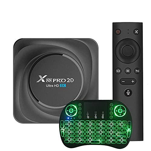 GEQWE Caja De TV Android 11.0 [8G + 128G] con Mini Teclado RK3566 De Cuatro Núcleos Y 64 bits, Wi-Fi-Dual 5G / 2.4G, BT 4.0, 4K * 8K UHD H.265, Caja De TV Inteligente USB 3.0,8gb+64gb