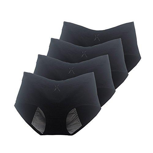 Phennie's Big Girls Menstrual Period Panties Pack of 4Young Female Absorbent Free Leak Briefs Teens No Leak Underwear Black Size XLarge