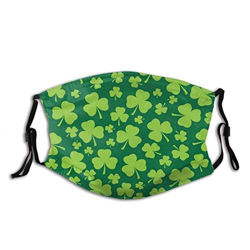 Máscara facial del día de San Patricio, pasamontañas lavables verdes, con filtros de cara y pasamontañas, Clover Vector sin costuras, Talla única