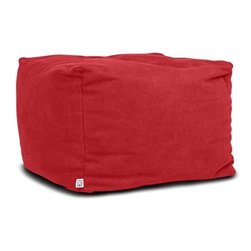Arketicom Soft Cube Pouf Sacco Poggiapiedi Morbido Quadrato Sfoderabile Puff da Salotto 65x42 Rosso