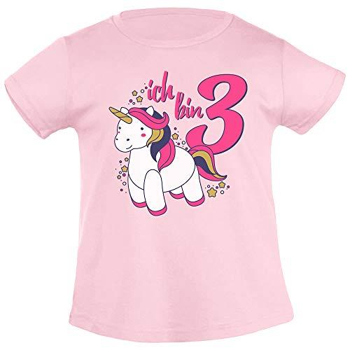 Ich Bin DREI Einhorn Geburtstags Mädchen Mädchen T-Shirt 104 Rosa