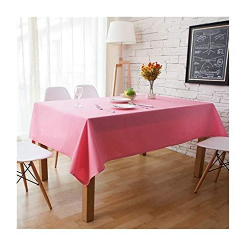 Beydodo Mantel Lona Antimanchas Rosa Mantel Mesa Rectangular Color Sólido Mantel Mesa 140x220CM