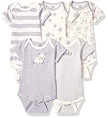 Includes five organic Gerber short sleeve onesies bodysuits Soft organic cotton rib Higher-in-the-front bottom snap closure for easy changing