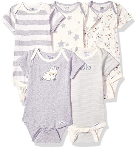 Gerber Baby 5-Pack or 15 Multi Size Organic Short Sleeve Onesies Bodysuits, Sheep 5 Pack, Newborn