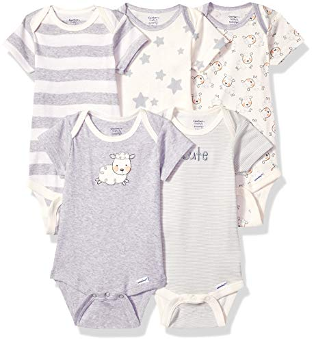 Gerber Baby 5-Pack or 15 Multi Size Organic Short Sleeve Onesies Bodysuits, Sheep 5 Pack, Newborn