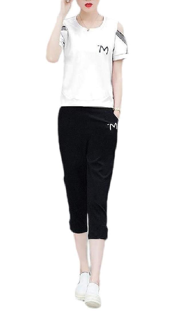 熟読販売員とWomens Slim Fit Pockets Two Pieces Summer Crewneck Sweatsuit Set