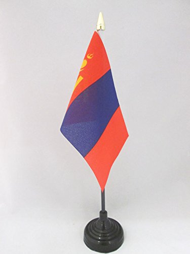 AZ FLAG TISCHFLAGGE MONGOLEI 15x10cm goldene splitze - MONGOLISCHE TISCHFAHNE 10 x 15 cm - flaggen