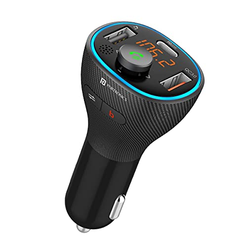 Portronics Auto 15 Bluetooth - FM Transmitter in-Car Radio Adapter for Hands-Free Calling, Music Streaming, USB Reading (PD 20W+QC3.0) Fast Charger, Supports All Smartphones (Black)