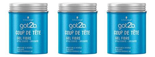 Schwarzkopf - Got2b - Gel Coiffant Cheveux - Coiffant Cheveux Homme - Coup de Tête - Gel Fibre - Fixation Normale - Style Coiffé Décoiffé - Pot 100 ml - Lot de 3