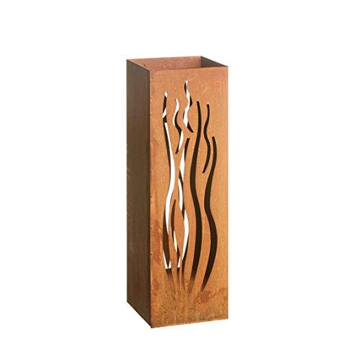 AMARE Home Deko Säule Windlicht Feuersäule Laterne Design Wellen Edelrost 16 x 16 x 50 cm