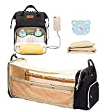 Cosy Casa Baby Diaper Bag Backpack with Travel Bassinet Changing Station Mat Portable Crib for Baby Girl Boy Infant Mom, Mommy Bag Tote with Toddler Bed Sleeper Diaper-Bag-Backpack-Baby-Travel(Black)