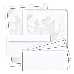 50 x Set Trauerpapier DIN A4 + Trauerumschläge DIN Lang - Motiv grauer Trauer-Rahmen mit einer Engels-Statue - 22 x 11 cm - bedruckbar - Kondolenz Set für Danksagung Trauer