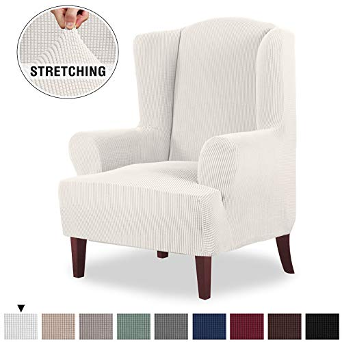 High Stretch Wingback Chair Slipcover Wing Chair Covers Wingback Chair Covers Wing Chair Slipcovers Furniture Covers for Wingback Chairs, Soft Thick Small Checked Jacquard Fabric, Off White