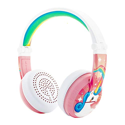 ONANOFF BuddyPhones Wave, Waterproof Wireless Bluetooth Volume-Limiting Kids Headphones, 18-Hour Battery Life, 4 Volume Settings of 75, 85, 94db and StudyMode, Includes Backup Cable for Sharing, Pink