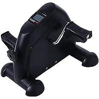 Mini bicicleta estática pedal Trainer portátil del brazo y la pierna de bicicletas entrenador con el monitor LCD duradero pierna y el brazo de recuperación médica Aparatos for hacer ejercicio, blanca
