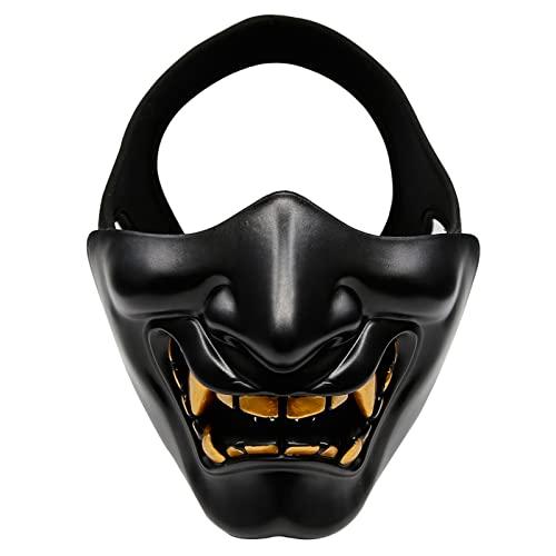 AOUTACC Airsoft Half Face Masks, Evil Demon Monster Kabuki Samurai Hannya Oni Half Face Protective Masks for Masquerade Ball, Party, Halloween, Cs War Game, BB Gun(Black)