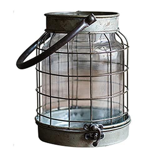 Candelabri Retro Candeliere in Ferro Battuto Decorazione Lanterna del Vento Piccola Lanterna Decorazione Ornamenti Giardino Ornamenti Vari (Color : Bronze, Size : 15 * 12 * 9cm)