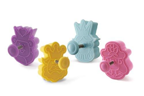 Silikomart Wonder Cakes by 70.122.99.0069 Lot de 4 Découpoirs en Plastique Thème Famille Royale, Violet/Jaune/Blue Clair/Rose, 5 x 12 x 12 cm