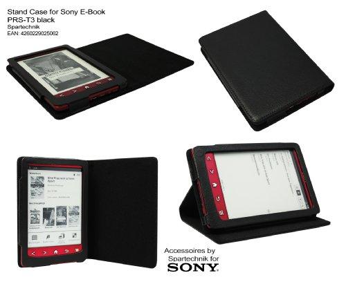 Schwarzes Case für Sony PRS-T3 - bestes Case Hülle Etui Tasche für Sony E-Book Reader Elektronisches Buch mit Schlafmodus Funktion und integriertem Ständer für PRS T3 - schwarz