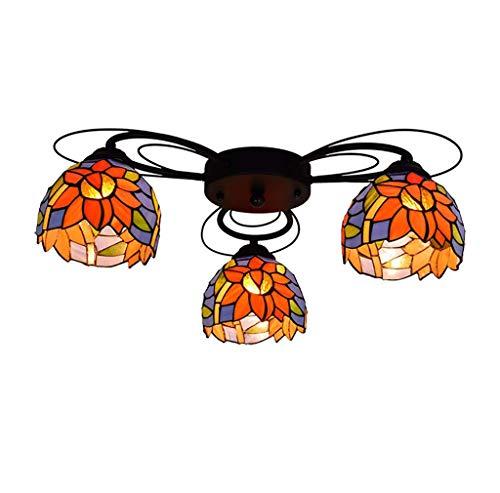 Schlafzimmer mehrarmige Deckenleuchte Kreative Buntglasdeckenleuchte, Tiffany-Stil Kronleuchter für Aisle Wohnzimmer Licht, E27 (enthält Glühlampen),3head
