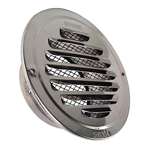 JKOVRME 4Inch Louvered Grille Cover Vent Hood Wall Air Vents with Built-in Fly Screen Mesh - 304 Stainless Steel Ventilation Outlet (4 Inch)