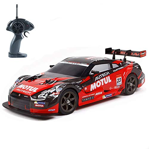 Super GT RC Sport Racing Drift Car, 1/16 Remote Control Car for Adults Kids Gifts, 4WD RTR Vehicle with 6 Battery and Drift Tires - Red