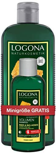 LOGONA Naturkosmetik SET Volumen Shampoo Bier & Bio-Honig plus Onpack Reisegröße, 2er Pack(2 x 250 ml + 2 x 75 ml)