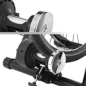 SONGMICS Rodillo de bicicleta, Rodillo magnético de ciclismo, con rueda de reducción de ruido, Plegable para un fácil almacenamiento, Negro SBT01B