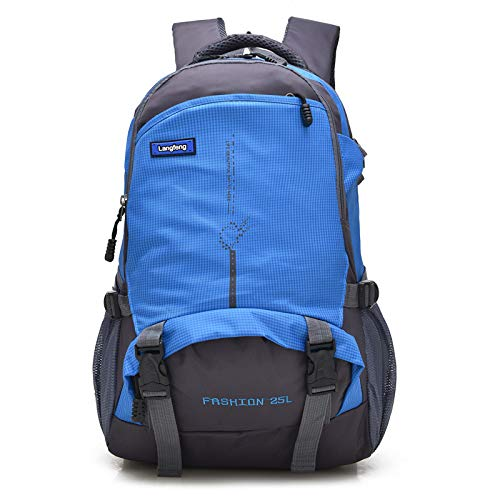 QXbecky Sac à dos de haute qualité en tissu Oxford sac à dos de grande capacité de randonnée en plein air sac à dos léger sport alpinisme sac étudiants masculins et féminins sac bleu 29x14x48cm