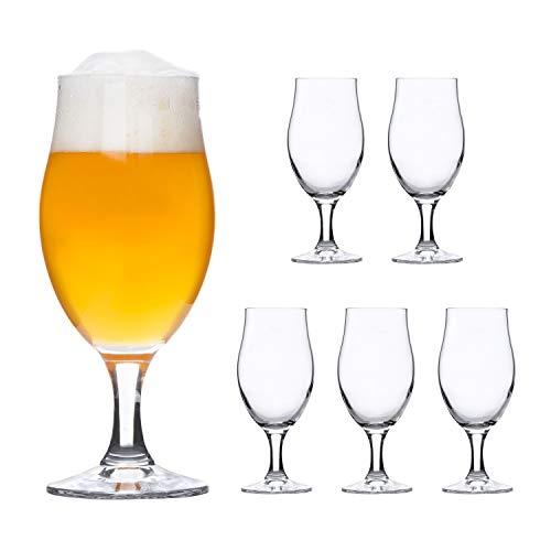 Bormioli Rocco | 6er-Set Bierglas Executive | 0.3L geeicht | edle Bier-Tulpe | Stiel-Gläser klar | Cocktail-Becher | Glas-Geschirr | Party-Kelche