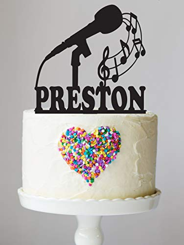 Microphone Cake Topper with Keepsake Base, Music, Treble Clef, Musician, Band Party, Musical Instrument, Personalized Cake Topper, Marching Band