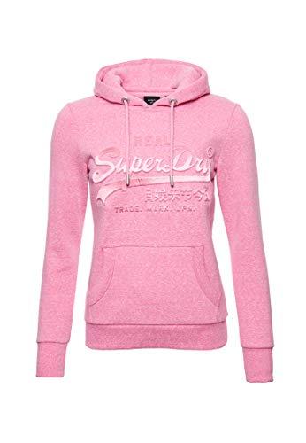 Superdry Damen Vintage Logo Tonal Hoodie mit Satin und Prägung Pink Meliert 38