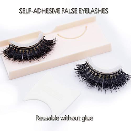 Faux-cils Eyelashes 3D Cils Fausses Réutilisables sans Colle Auto-Collant Naturels à la Main Ultra Minces Naturel Noir Extension de Cils Curl Individuels3