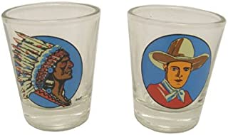Hipster's Choice Western Shot Glasses, Cowboy and Indian