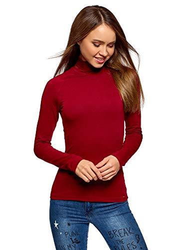oodji Ultra Mujer Suéter Básico de Cuello Alto de Algodón, Rojo, ES 34 / XXS