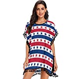 OcuteO American Patriotic Stars Stripes in Bright Red Blue White Independence Day Bathing Suit Coverup Pom Pom Cover Ups for Women Beach Wear Pool
