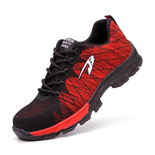 Zapatos de Seguridad Hombre Mujer Ligero Calzado de Trabajo Zapatillas con Punta Acero Industrial y Deportiva Transpirable Seguridad Cómodas Antideslizante Anti Aplastamiento Red45