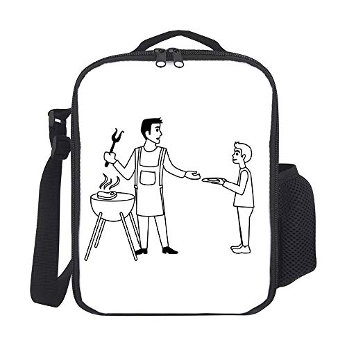 Bolsas de almuerzo aisladas para niños, con soporte para botellas, barbacoa, color negro, a la moda, para hombres, adultos, reutilizable, para comida, para el trabajo, escuela, picnic