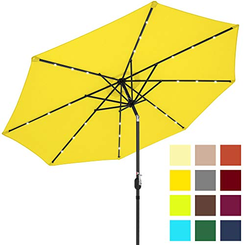 Best Choice Products 10-Foot Solar Powered Aluminum Polyester LED Lighted Patio Umbrella w/Tilt Adjustment and Fade-Resistant Fabric, Yellow