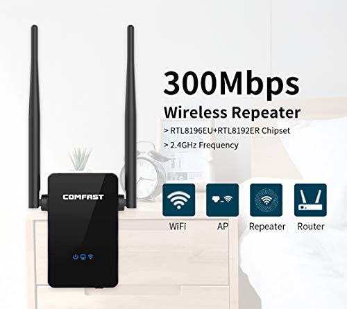 WiFi Booster 300Mbps Repetidor WiFi Extender 2,4 GHz Amplificador inalámbrico con Doble Antenas externas, Punto de Acceso/Router Modo/Repetidor, Puerto Ethernet, WPS