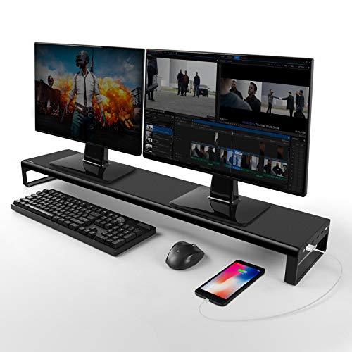 Vaydeer Dual Monitor Stand mit 4 USB 3.0 Hub Ports, Aluminium Monitorständer Unterstützen Datenübertragung für 2 Monitore, Metall Monitor Ständer Unterstützung bis zu 32 Zoll für PC, Laptop - Schwarz